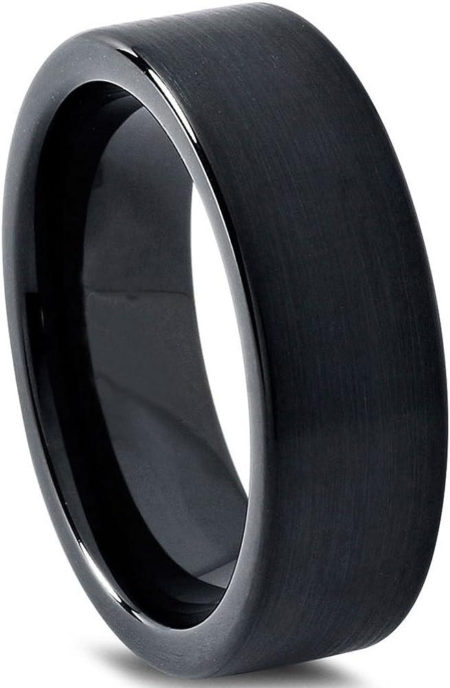 Tungsten Wedding Band Ring 7mm for Men Women Comfort Fit Black Flat Cut Brushed Lifetime Guarantee