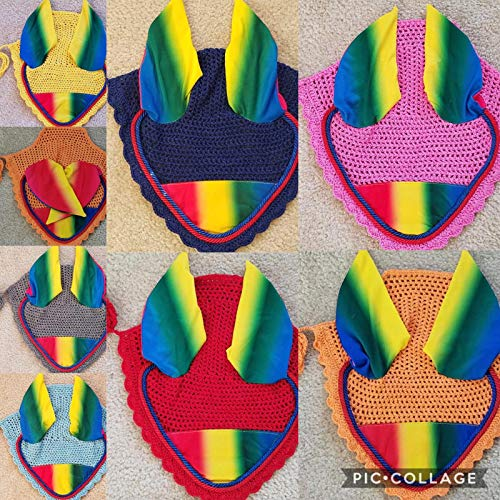 (Lift Sports Rainbow Horse Fly Bonnet Ear Net Fly Veil Hood Mask Hand Made Crochet Protect Flies Cotton Stretchable Ears (Full/Horse, Royal Blue))