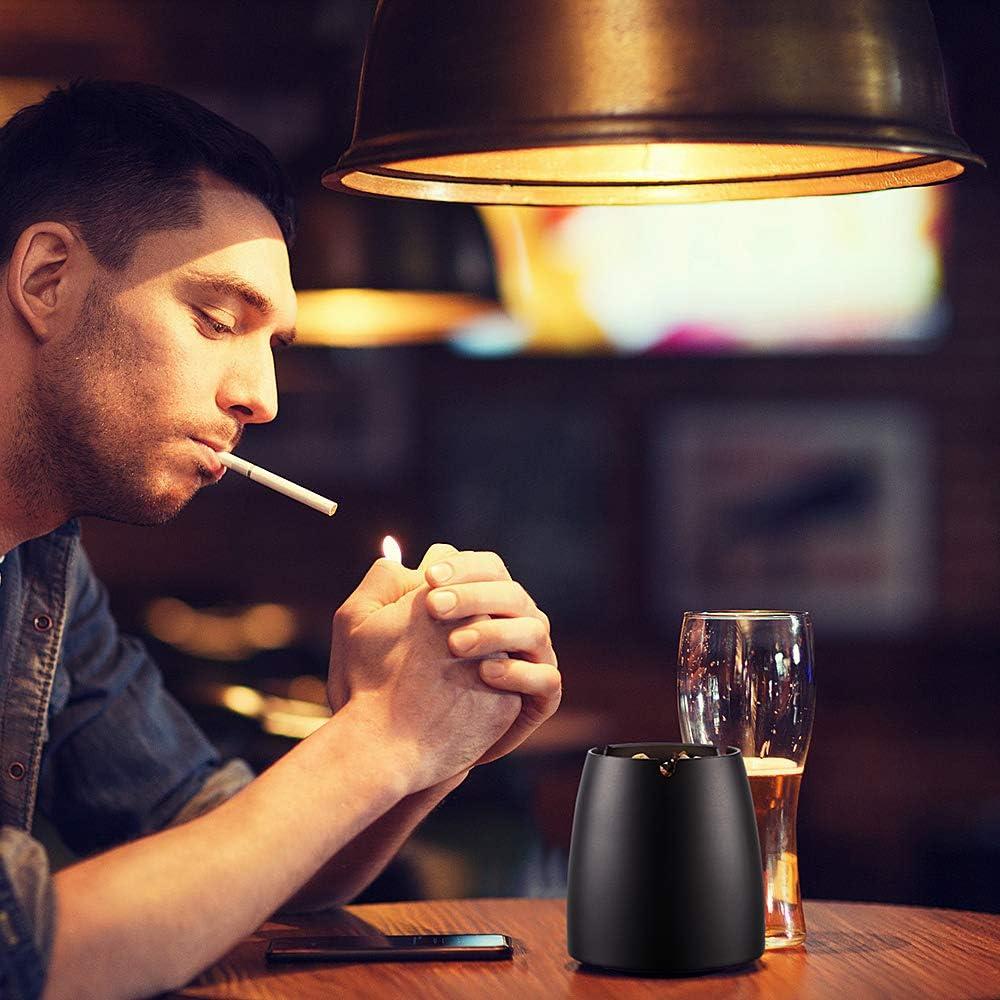 ecooe XL Antivento Titolare Cenere di Sigaretta posacenere in Acciaio Inox per Esterni e Interni Nero