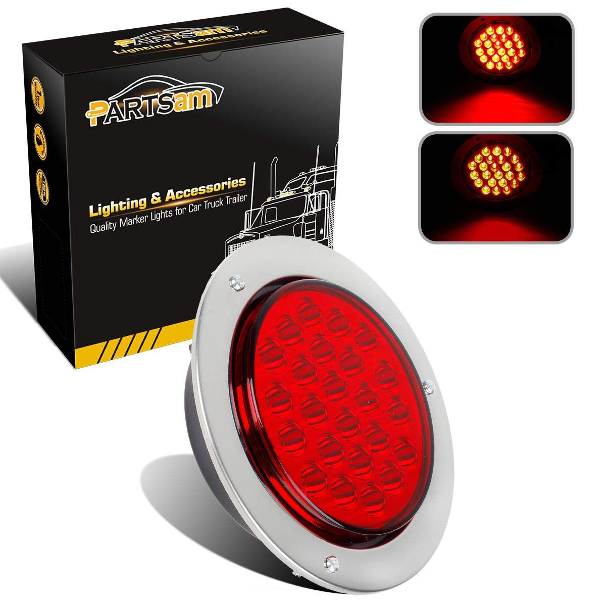 Partsam 2pcs 24-LED Red 4' Inch Round Tail Stop Turn Signal and Brake Marker Clearance Truck Trailer RV Lights Sealed Lamps Assembly w/Chrome Bezels Waterproof DOT Certified