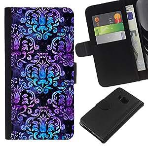 [Neutron-Star] Modelo colorido cuero de la carpeta del tirón del caso cubierta piel Holster Funda protecció Para HTC One M7 [Modelo púrpura Azul Negro]