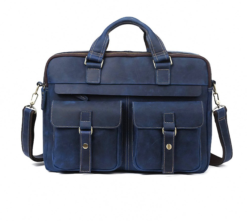 Acecle 4 Colors Available Men's Vintage Briefcase Laptop Bag 15.6 16 Inch Cowhide Crazy Horse Leather Handcrafted Multifunction All-in-one Business Handbag Messenger Shoulder Tote Bag