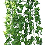 countertop topiary - 12 Strands Artificial Ivy Leaves Fake Vine Garland Artificial Hanging Plants Silk Ivy Foliage Flowers for Wedding, Kitchen Wall, Garden, Patio, Party Decoration (6.6 feet each strand)