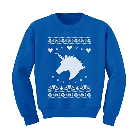 big white unicorn childrens ugly christmas sweater kids sweatshirt 2t blue - Childrens Ugly Christmas Sweaters