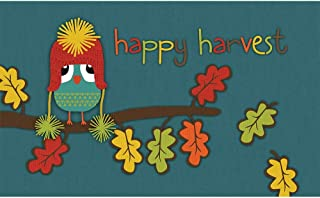 product image for Apache Mills Polytop Happy Harvest Owl Teal Door Mat (18 x 30)