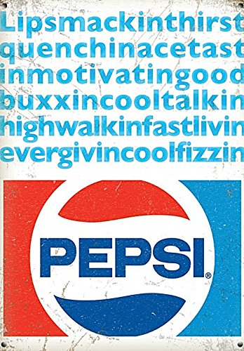 'New 30x40cm Lipsmackinthirstquenchin.... Pepsi Cola vintage enamel style metal advertising sign' large steel sign 400mm x 300mm (Enamel Advertising Sign)