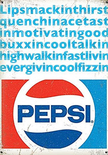 'New 30x40cm Lipsmackinthirstquenchin.... Pepsi Cola vintage enamel style metal advertising sign' large steel sign 400mm x 300mm (Enamel Advertising Sign)