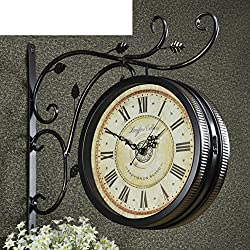 Decorative Wall Clock/Vintage Wrought-iron Clock/Mute European-style Double-sided Clock/American Craft Clock-I 16inch