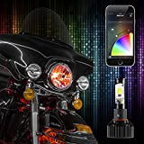 XK-GLOW XK042004-M 2-in-1 LED Headlight Bulb Motorcycle Kit (Xkchrome Smartphone App-enabled Bluetooth RGB Demon Eye Plus LED Headlight Conversion,1pc )