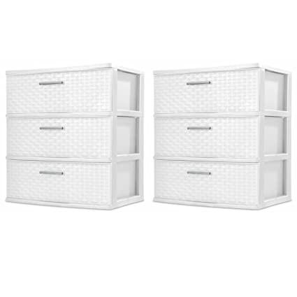 Sterilite 3-drawer Amplia Weave Torre, Color blanco, 2-pack: Amazon ...