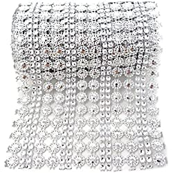 Honbay 4.5 Inch x 2 Yards Sparkling Silver Flower Shape Diamond Mesh Wrap Roll Faux Crystal Rhinestone Mesh Ribbon for Wedding, Birthday, Baby Shower, Arts & Crafts,etc