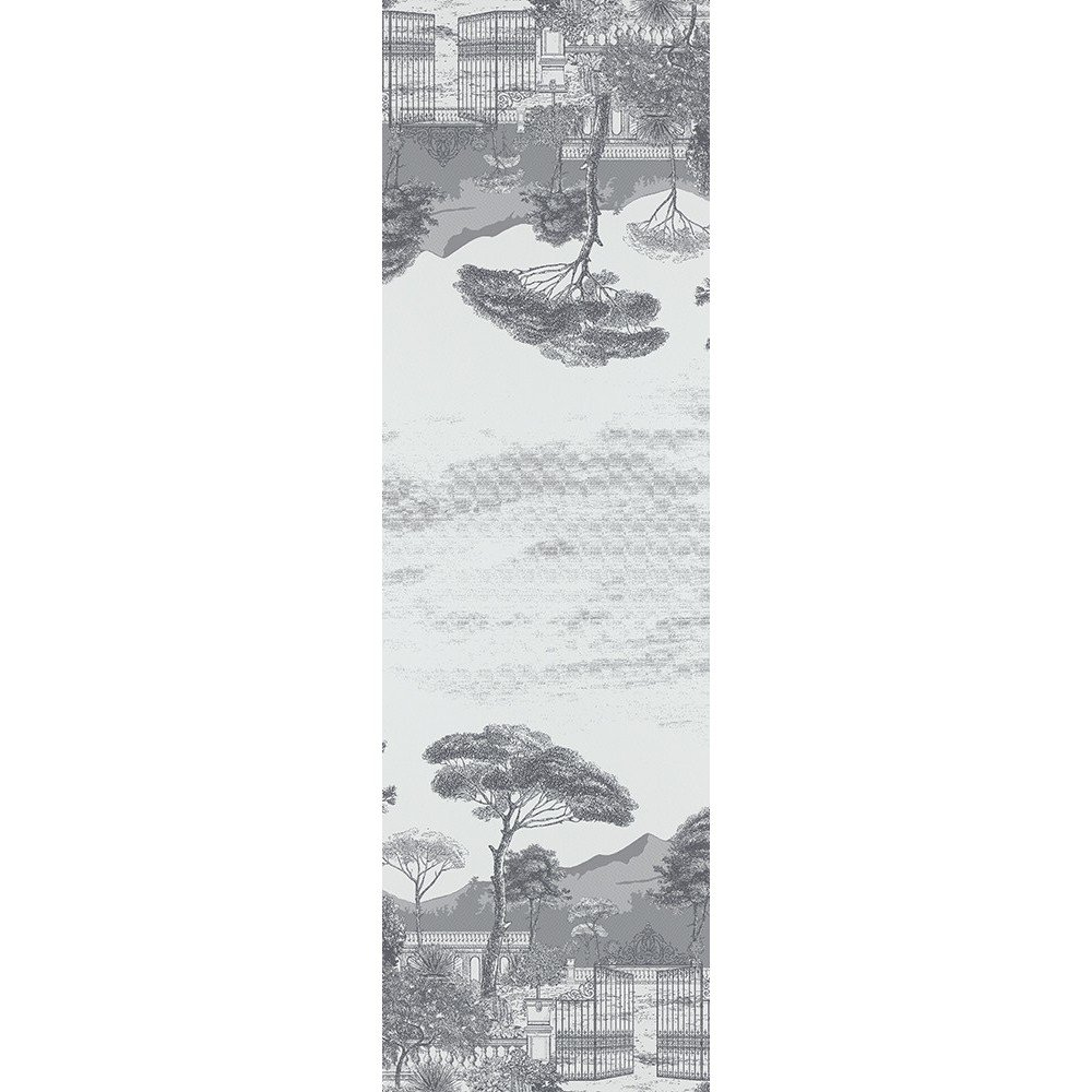 Garnier-Thiebaut, Palazzina Fusain (Charcoal) French Table Runner, 100 Percent Cotton, Green Sweet Treated, 21 Inches x 71 Inches