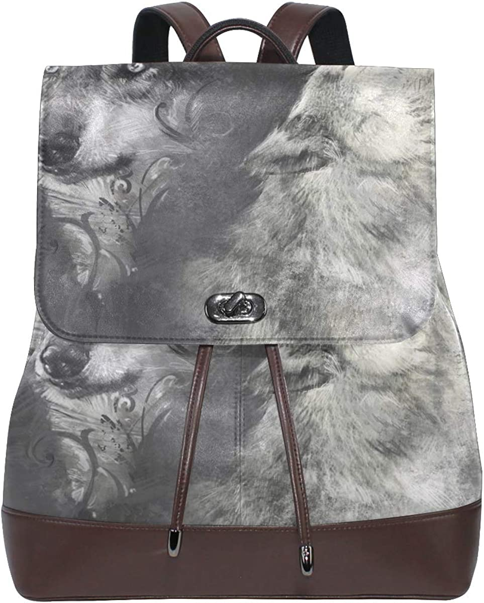 Wolf Backpack PU Leather School Shoulder Bag Rucksack for Women Girls Ladies Backpack Travel Bag