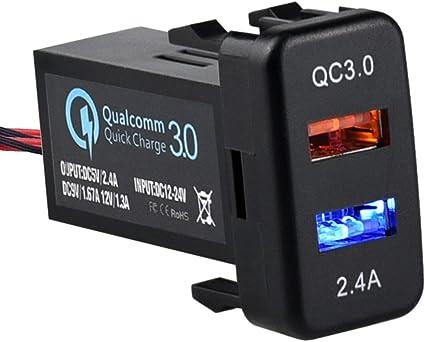 Amazon.com: Cllena - Cargador de doble puerto USB 3.0 y 2.4A ...