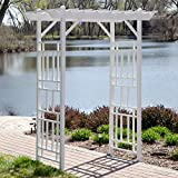 Traditional Style and Shape Pergola Arbor with an Elegant Country White Finish Durable PVC Vinyl Construction Perfect for Laying Thatch Material Patio Garden Home Outdoor Living Backyard Furniture