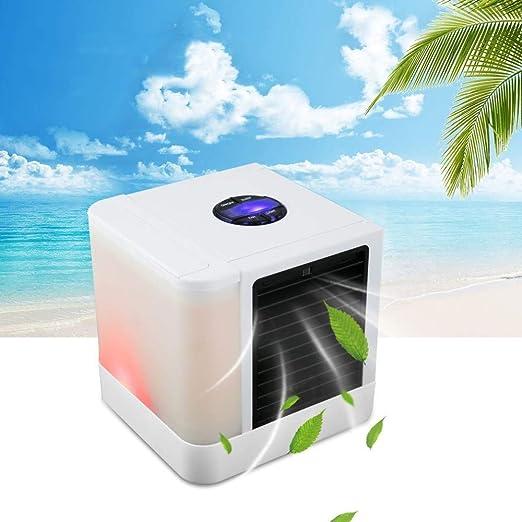WUSTEGCCF Climatizador Evaporativo Calor,Aire Acondicionado PortáTil Humidificador Purificador 7 Colores Luz Ventilador De Enfriamiento De Aire De Escritorio,White: Amazon.es: Jardín