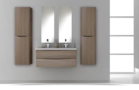 Mobile arredo bagno light cm sospeso doppio lavabo rovere con