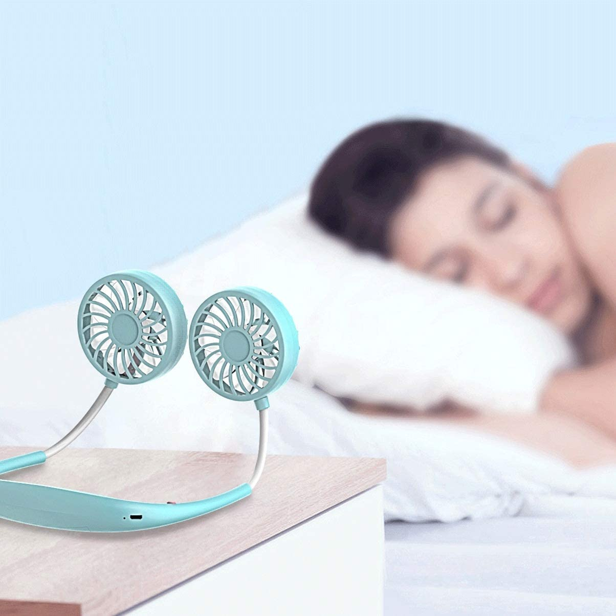 Color : Black FSJOOK Outdoor Lazy Sports Small Fan Silent Student Home Office Convenient Mini USB Charging Fan