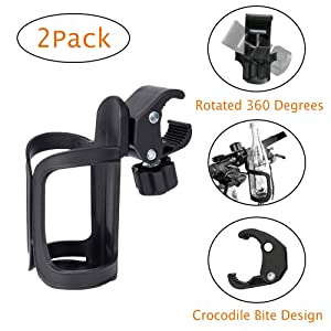 Juzanl Cup Holder for Bikes, Tools Free Bike Water Bottle Holder, 360 Degree Rotating Bike Water Bottle, Bicycle Drink Holder for MTB Bike Bicycle Stroller Motorcycle Boats (2 Pack)