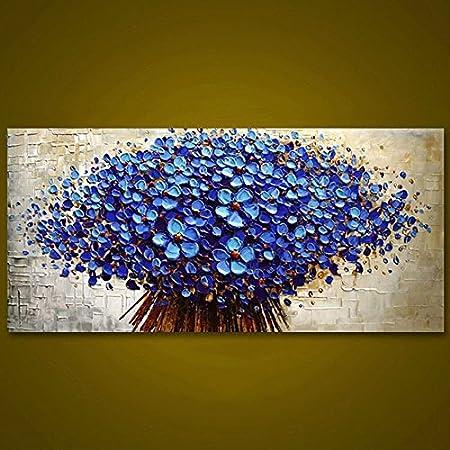 Qiaishi Panneau Sans Cadre Bleu Foncé Fleur Arbre épaisse