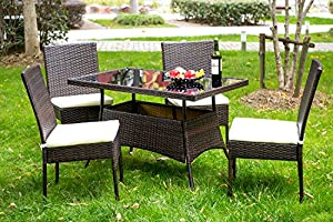 Merax 5 Pieces Indoor Outdoor Dining Set PE Rattan Garden Dining Table and Chairs Patio Set Furniture by Merax