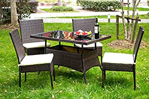 Merax 5 Pieces Indoor Outdoor Dining Set PE Rattan Garden Dining Table and Chairs Patio Set Furniture