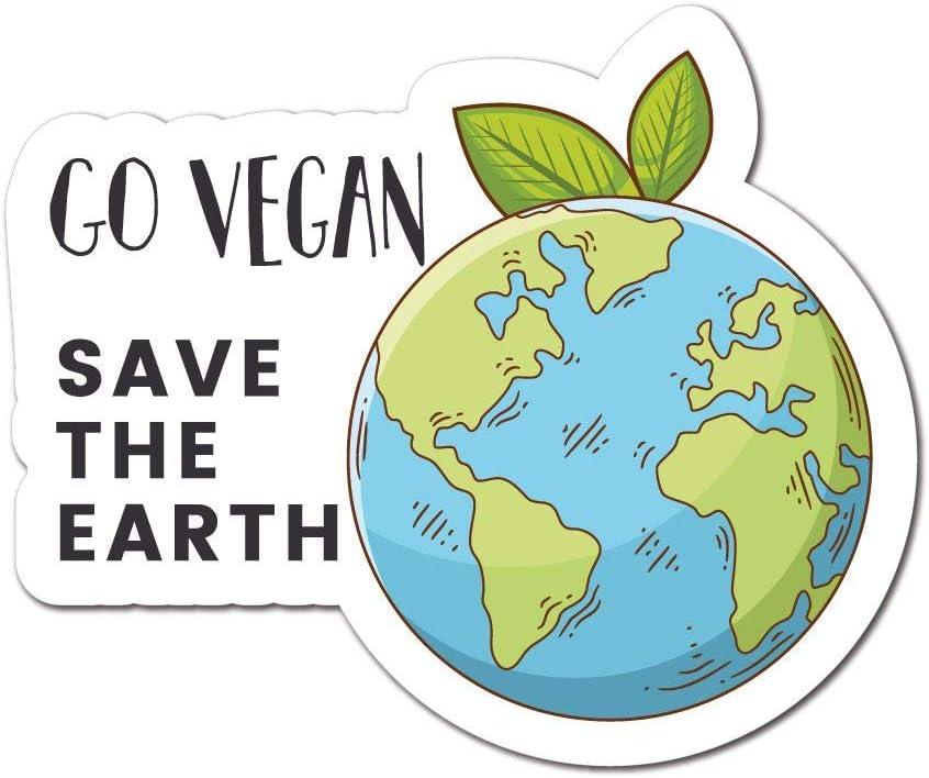 Go Vegan Save The Earth Sticker Decal Vegan Plant Vegetarian Food Laptop Planet