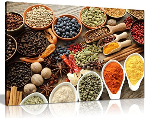 - Rustic Aromatic Spices Bowls Restaurant Kitchen Canvas Wall Art Picture Print (24x16in)