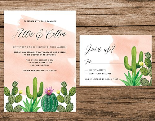 Cactus Wedding Invitation, Desert Wedding Invitation, Cactus Watercolor Invitation, Pink Succulent Invitation by Alexa Nelson Prints