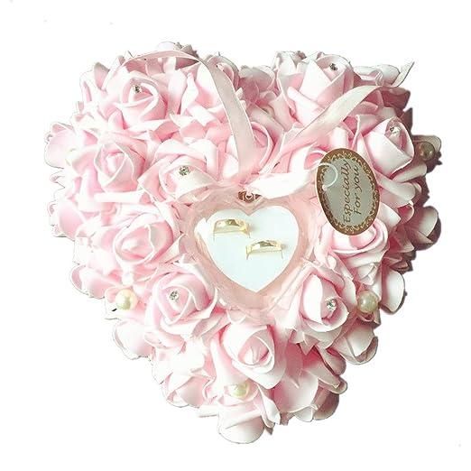 SLHP double-heart anillos de boda almohada Marfil satén y ...