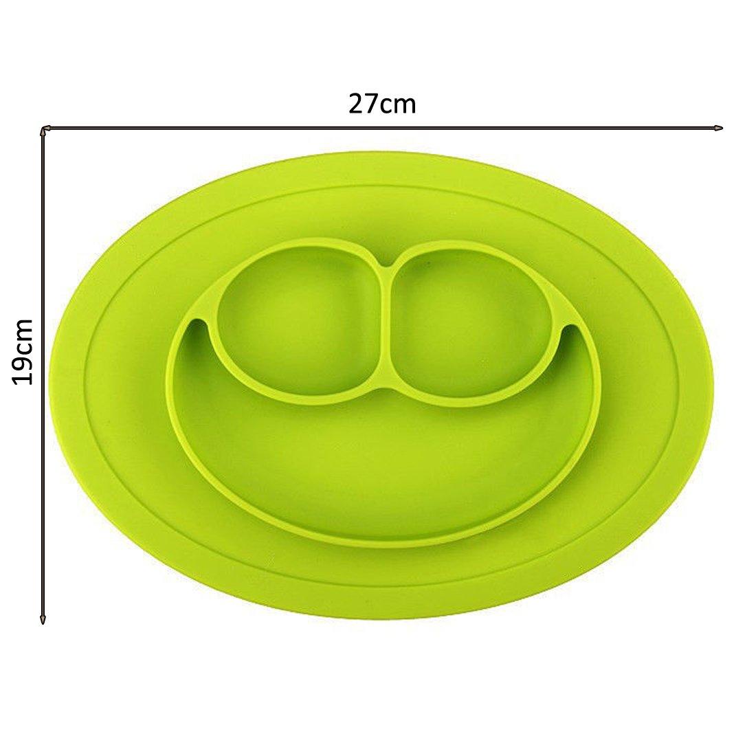 Kids Placemate piastra ventosa antiscivolo Portable divisa sezione Smile Toddler Baby alimentazione piatto vassoio ciotola jjonlinestore