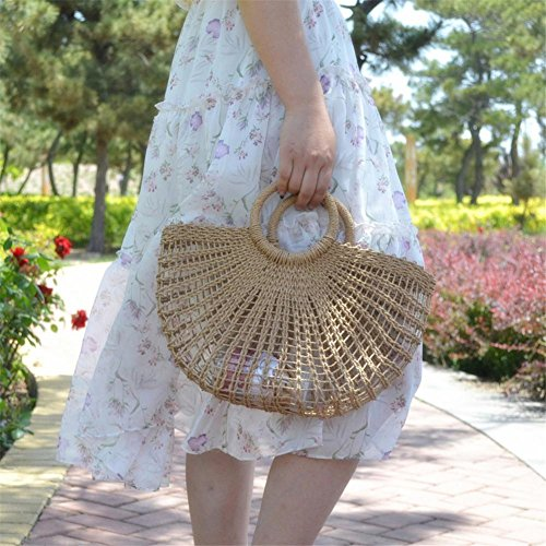Woven Straw Straw Straw Summer Women Totes Bag Straw Shoulderbag 2018 No for Women New Bag Women's Fashionable Handmade Arrival Lining Beach Bag 6qnfwTH