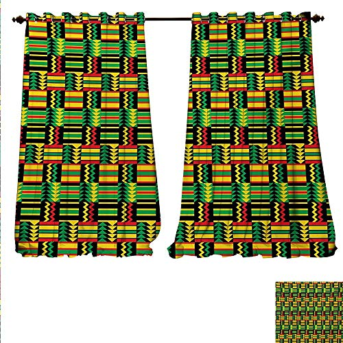 familytaste Drapes for Living Room Tribal Kenya Nigeria Design with Lively Cultural Colors Abstract Traditional Window Curtain Drape W120 x L108 Multicolor.jpg