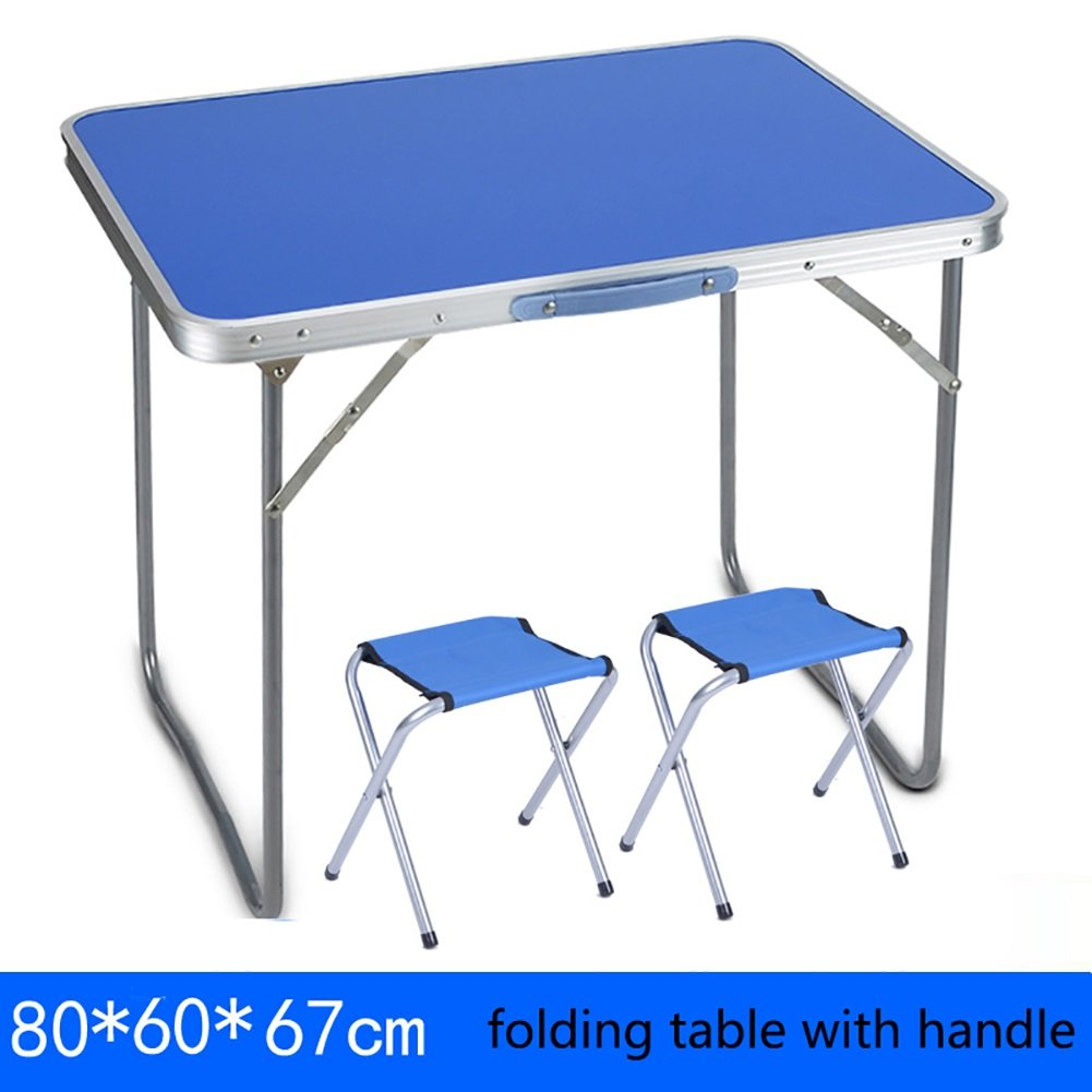 Table+2 stools 806067cm Folding Table Table Outdoor Wooden Folding Table and Chair with Handle Camping Portable Metal Square Computer Table Foldable Long Kitchen and Dining Table (color   Table, Size   80  60  67cm)