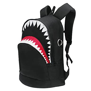Amazon.com: 3D Shark Canvas Backpack Kids Book Bag School Backpack ...