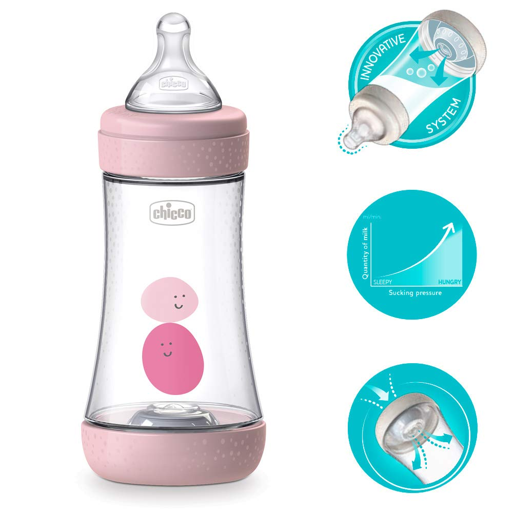 SOFT SENSE-SILIKON Sauger 2 Mo+ made in Italy 2er Pack Girls Chicco Perfect-5 ANTI-KOLIK Equilibrium Membrane Baby Flasche 240 ml