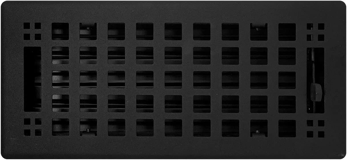 "Madelyn Carter 4"" x 12"" Artisan Flat Black Vent Covers, Steel (Overall Face Size: 5.5"" x 13.5"")"