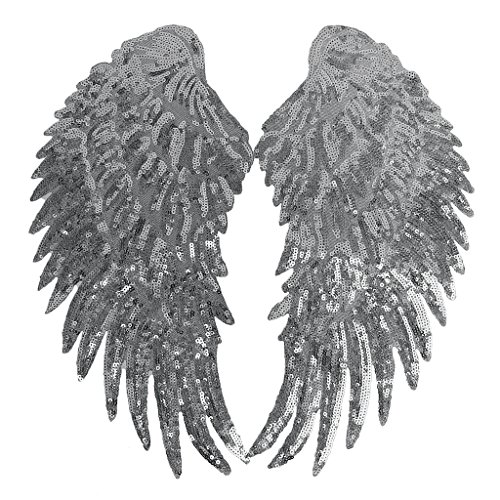 IPOTCH 1ペア スパンコール 刺繍 アップリケ パッチ 貼り付け 翼 ウィング デコレーション 全2色 - シルバー 33 * 18センチメートルの商品画像