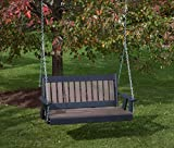 5FT-WEATHERED WOOD-POLY LUMBER Mission Porch Swing Heavy Duty EVERLASTING PolyTuf HDPE – MADE IN USA – AMISH CRAFTED For Sale