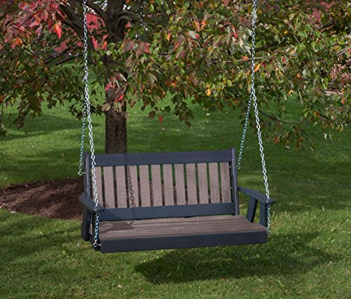 5FT-WEATHERED WOOD-POLY LUMBER Mission Porch Swing Heavy Duty EVERLASTING PolyTuf HDPE – MADE IN USA – AMISH CRAFTED