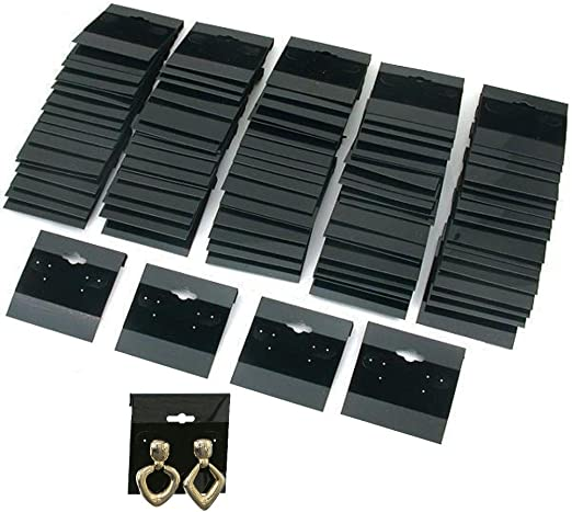 200 PCS Black Earring Display Hang Flocked Cards 2 X 2 Inch Jewelry Hanging Card