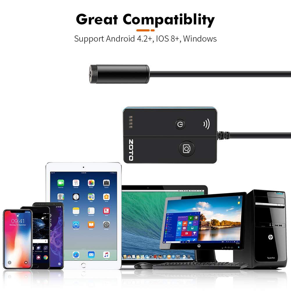 Waterproof 1800mAh Battery Semi-rigid Borescope Snake Camera for Android and iOS Smartphone 5MP Auto Focus 1944P HD Wireless Endoscope Camera ZOTO WiFi Inspection Camera Tablet 5M