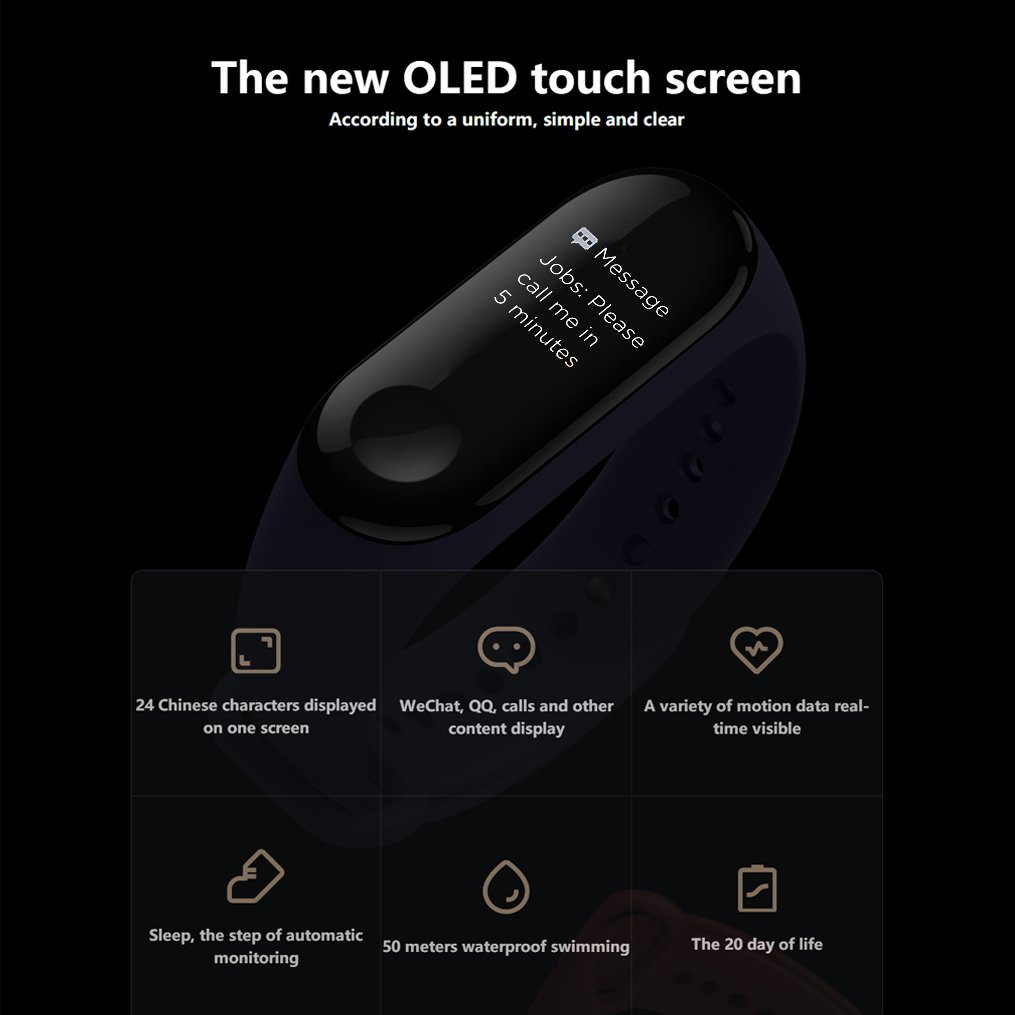 Xiaomi Mi Band 3 Fitness Tracker 50m Waterproof Smart Band Smartband OLED Display Touchpad Heart Rate Monitor Wristbands Bracelet, Black