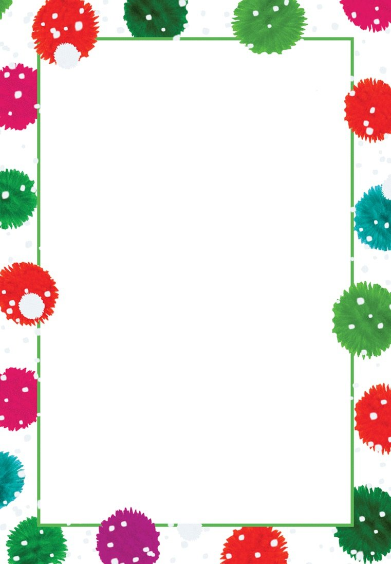 Entertaining with Caspari Snowy Pom Poms Blank Invitations With Envelopes 8 Pack Multicolored