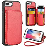 #4: ZVE iPhone 7 Plus Wallet Case, iPhone 8 Plus Case with Card Holder, iPhone 7 Plus / iPhone 8 Plus Protective Wallet Leather Case With Credit Card Holder Slot for iPhone 7 Plus / 8 Plus 5.5 inch - Red