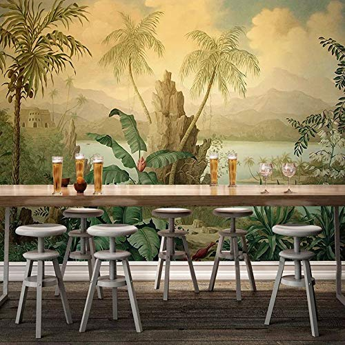 Wallpapers - Custom 3D Wallpaper Art Wall Mural European Style Retro Landscape Oil Painting Tropical Rainforest Banana Coconut Tree Wallpaper - 1 PCs -  tto, TA68E30190