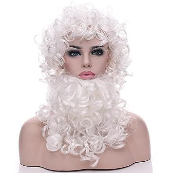 JL Peluca Navidad Barba Santa Peluca Sombrero Pelucas Pelucas Realistas De Navidad Pelucas Químicas