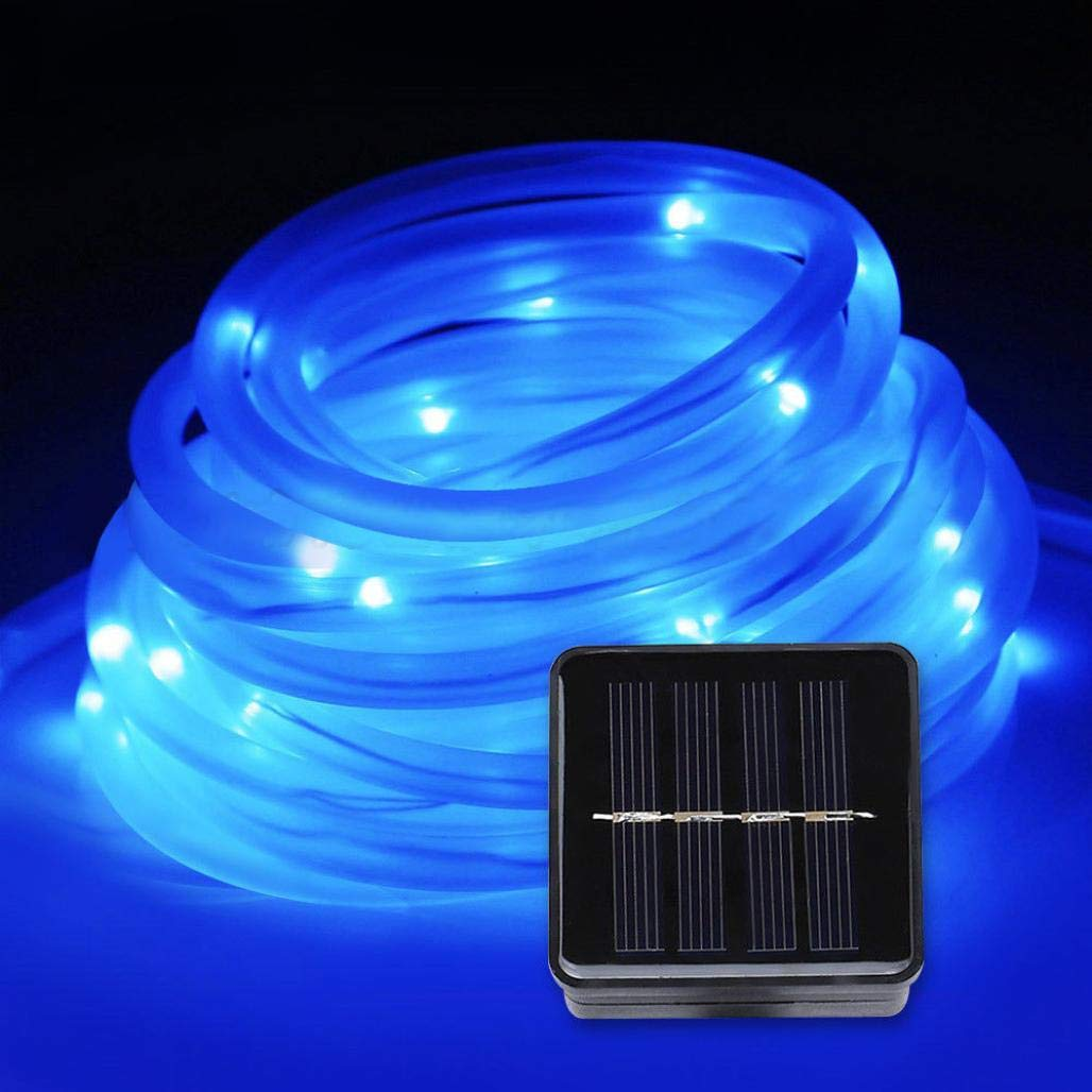 Liping Bright Solar Power String Copper Wire Mini Fairy String Lights for Bedroom,Christmas, Weddings,Garden Copper Wire Lights (Blue)