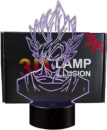 Todo para el streamer: 3D Lámpara de Escritorio Mesa 7 cambiar el color botón táctil de escritorio del USB LED lámpara de tabla ligera Decoración para el Hogar Decoración para Niños Mejor Regalo (Dragon Ball)