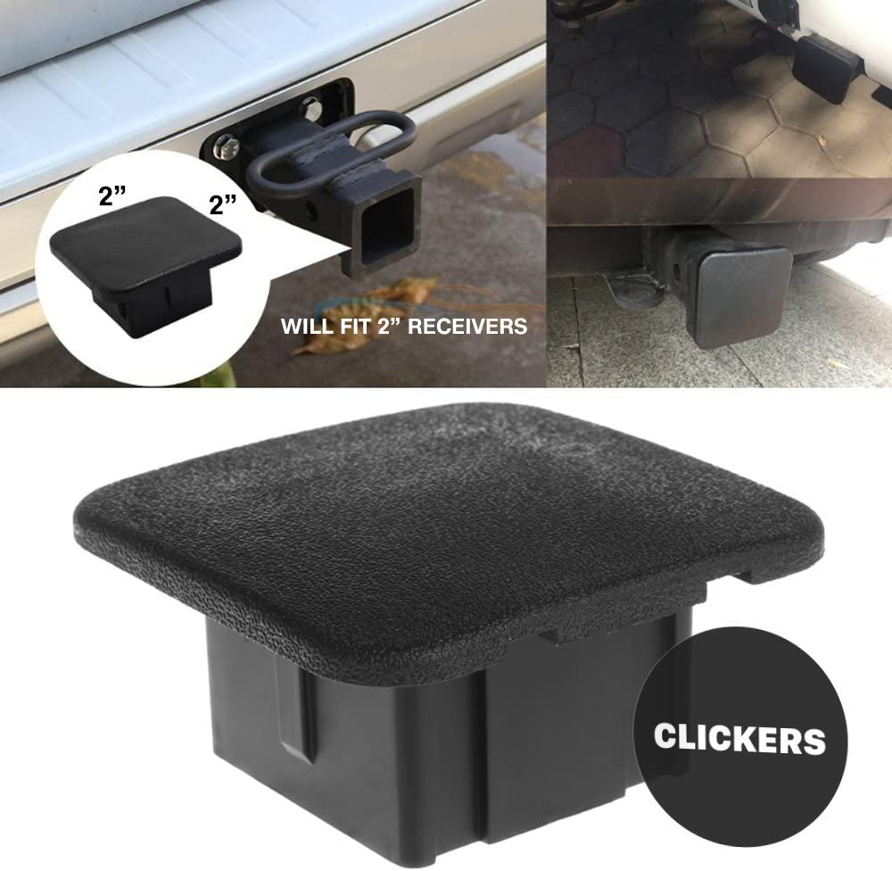 "CLICKERS Black 2"" Trailer Hitch Cover - Plug Insert Fits 2 Inch Receivers"